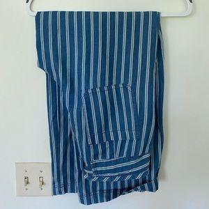 American Eagle Blue Striped Wide Leg Pants